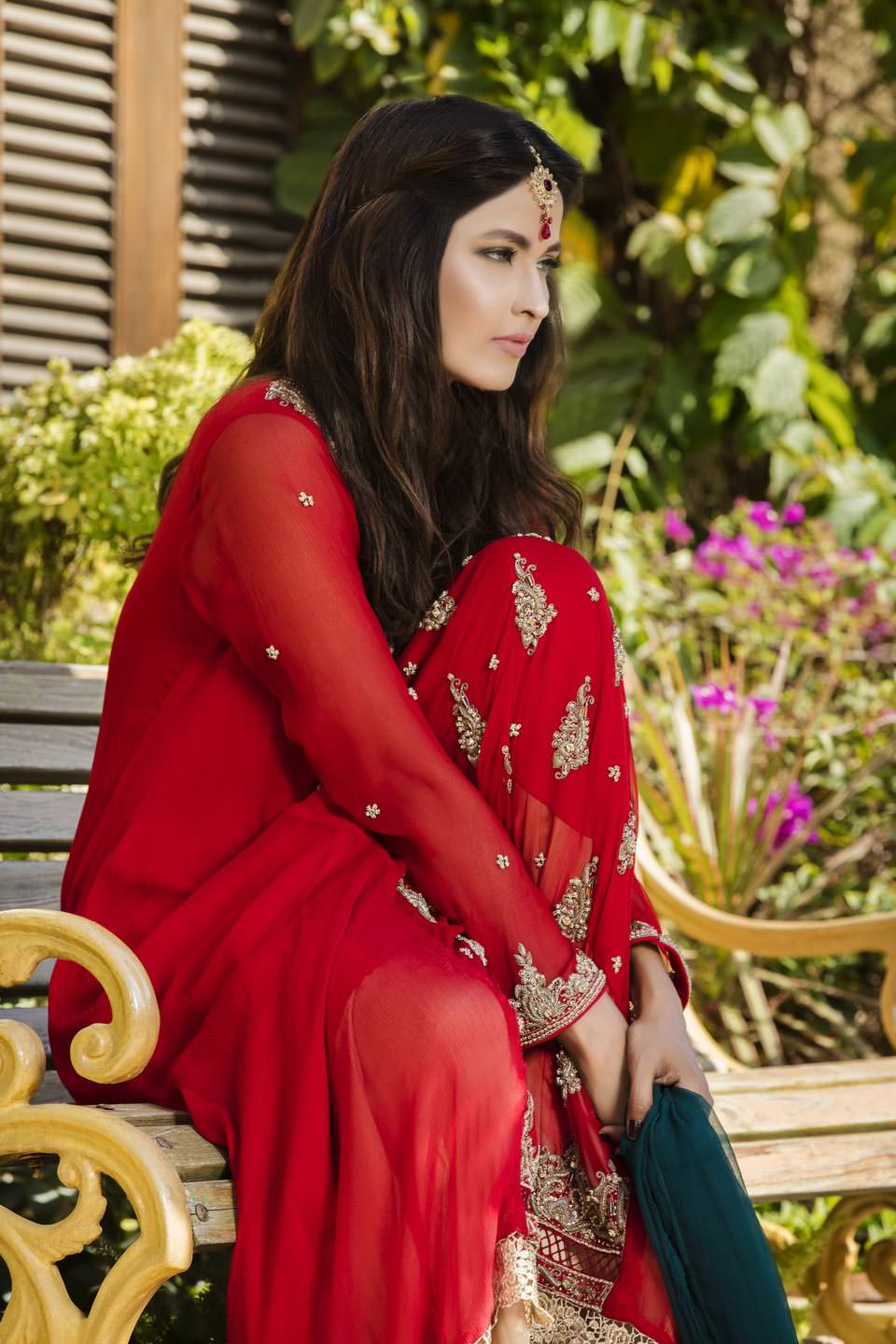 Buy Red, Bottle Green And Fone Color Bridal Dress – G12069 Online In USA, Uk & Pakistan - 04