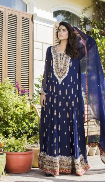 Buy Navy Blue Color Bridal Wear – G12177 Online In USA, Uk & Pakistan - 05