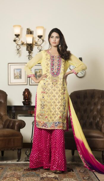 Buy Yellow And Shocking Pink Color Bridal Dress – G12302 Online In USA, Uk & Pakistan