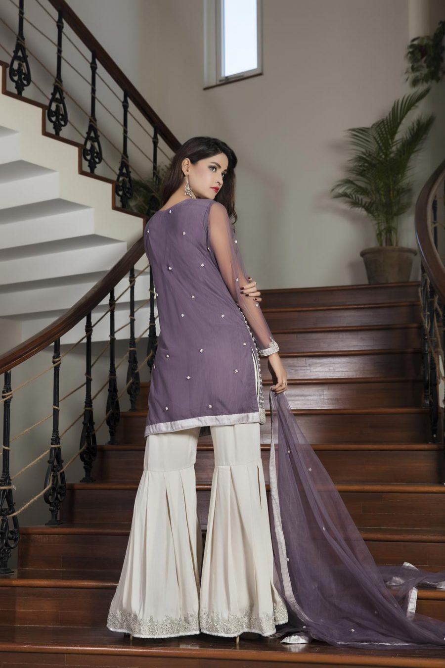 Light purple and off white color bridal dress g12627 for Light colored wedding dresses