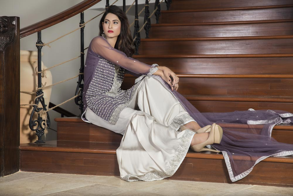 Buy Light Purple And Off White Color Bridal Dress – G12627 Online In USA, Uk & Pakistan - 01