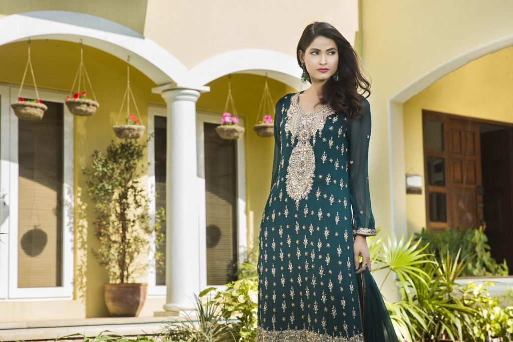 Buy Bottle Green And Fone Color Bridal Wear – G12985 Online In USA, Uk & Pakistan -02