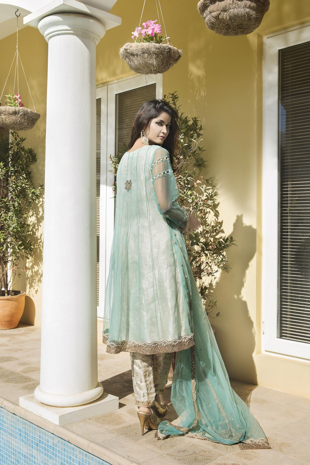 AQUA GREEN AND OFF WHITE COLOR BRIDAL WEAR - G13074 - Exclusive ...