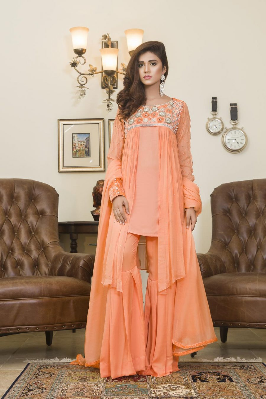 Peach colored pakistani dresses