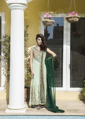 Buy Pista Green And Bottle Green Color Bridal Wear – Sbr520 Online In USA, Uk & Pakistan - 08