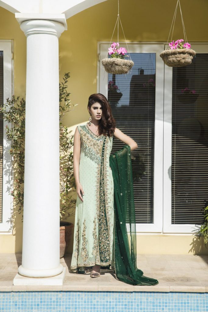 Buy Pista Green And Bottle Green Color Bridal Wear – Sbr520 Online In USA, Uk & Pakistan - 08