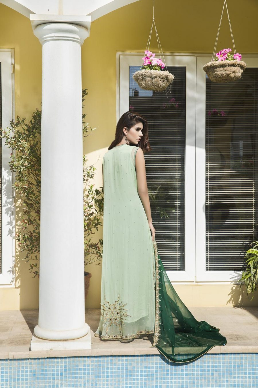 Pista Green And Bottle Green Color Bridal Wear Sbr520