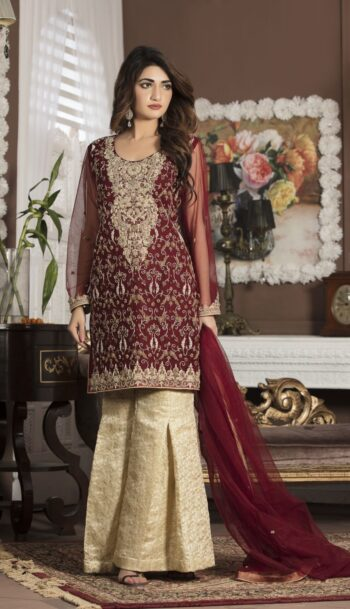 Buy Maroon Bridal Wear – G13107 Online In USA, Uk & Pakistan - 09