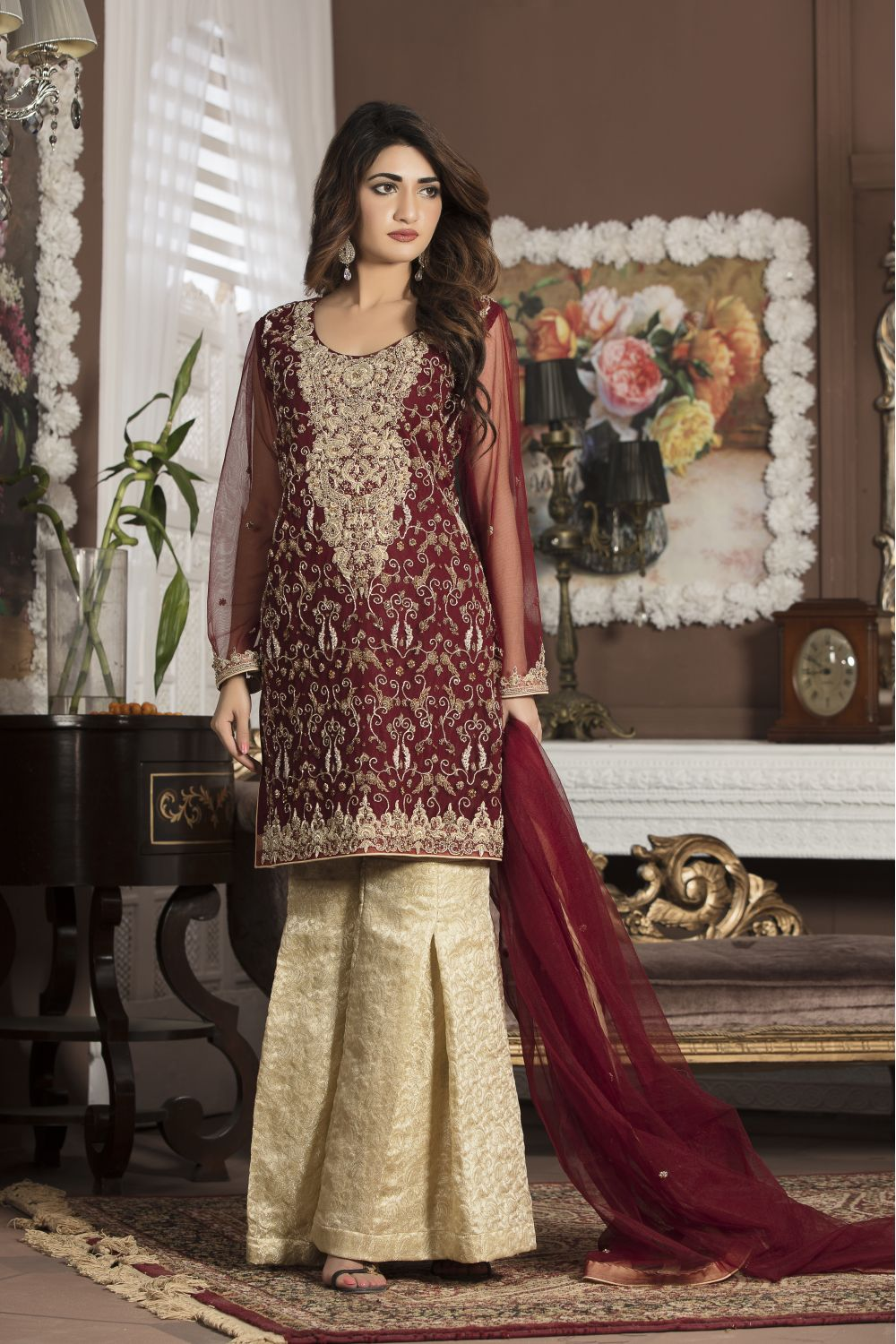 Maroon bridal wear g13107 exclusive online boutique for Online pakistani wedding dresses