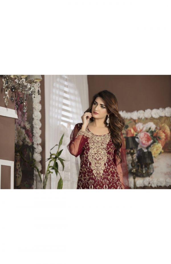 Buy Maroon Bridal Wear – G13107 Online In USA, Uk & Pakistan - 01