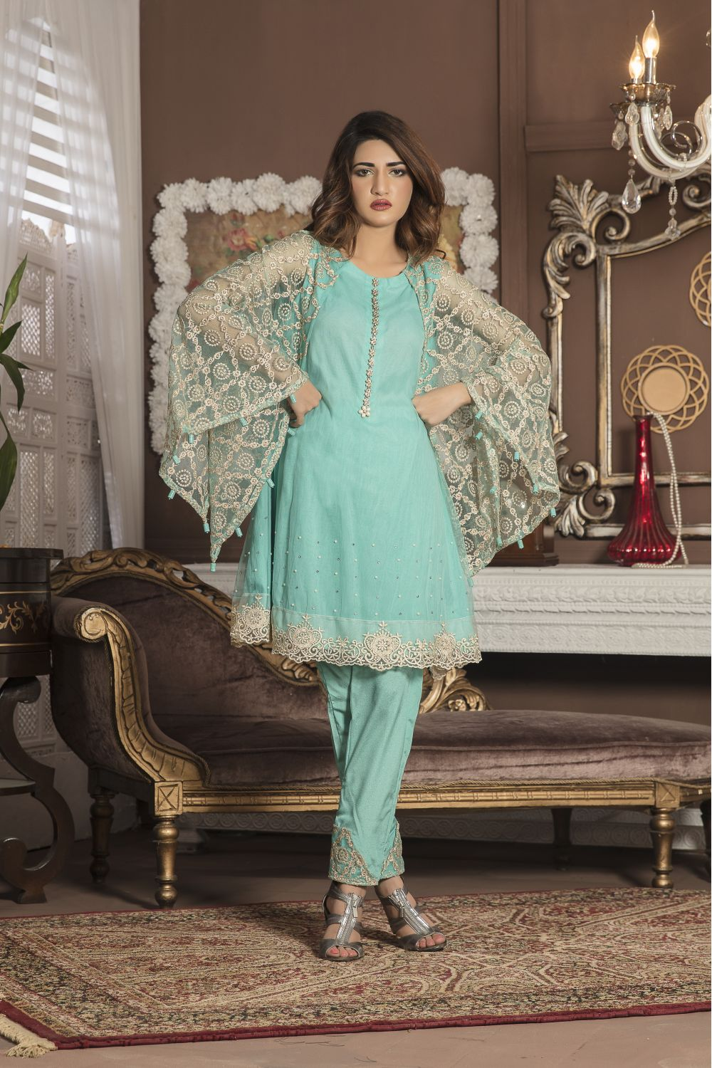 AQUA GREEN PARTYWEAR - SAC2052 - Exclusive Online Boutique