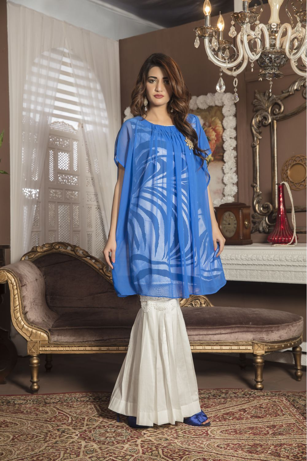 Royal Blue And Offwhite Casual Dress Yc140 Exclusive