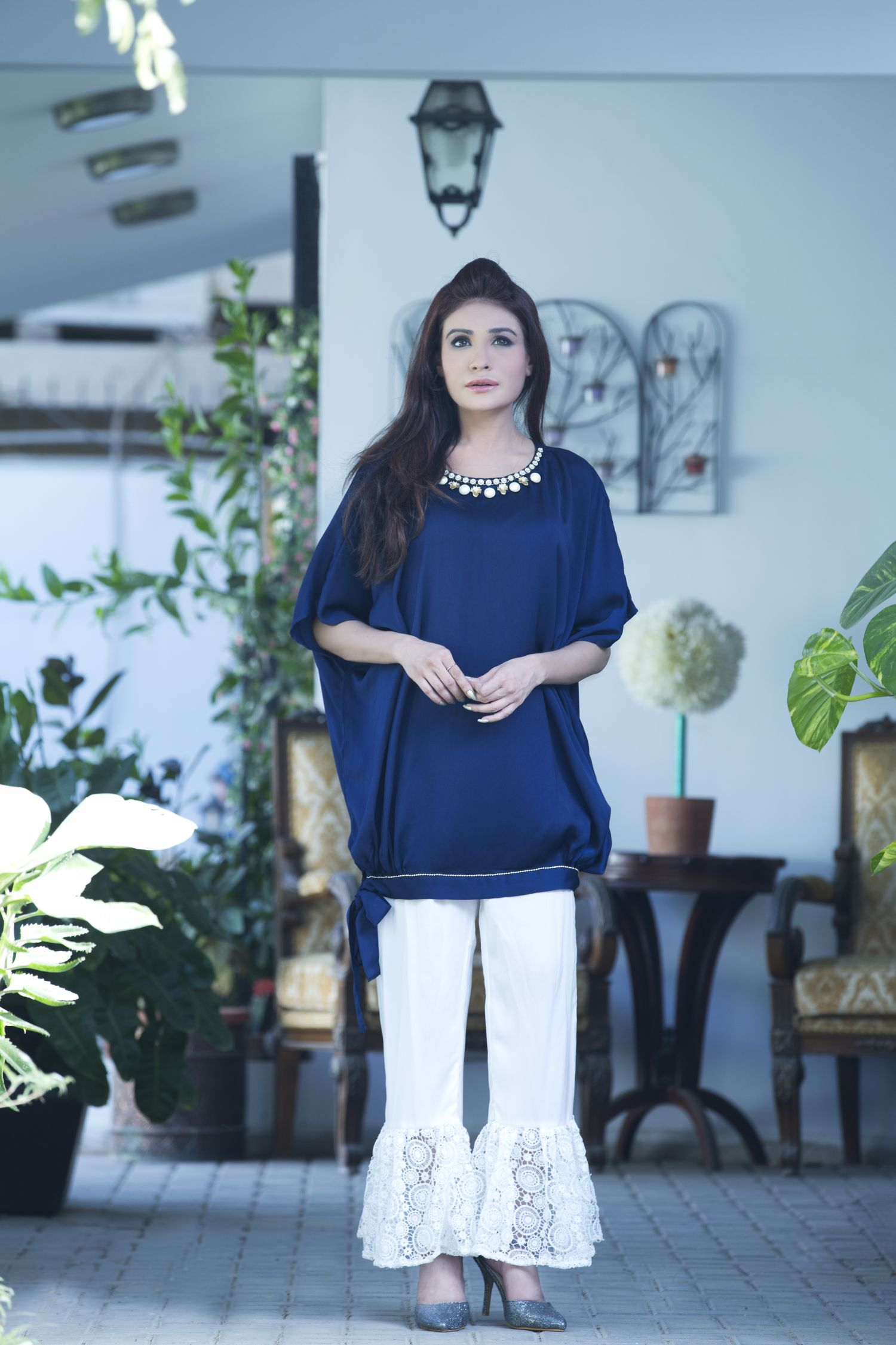 EXCLUSIVE BLUE AND WHITE CASUAL WEAR DRESS - SAC2115 - Exclusive ...