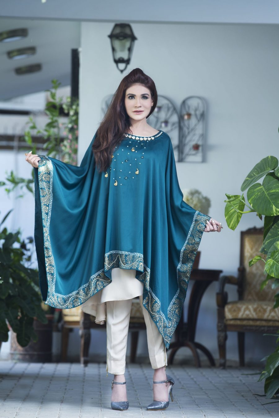 exclusive green and fone casual wear dress sac2116