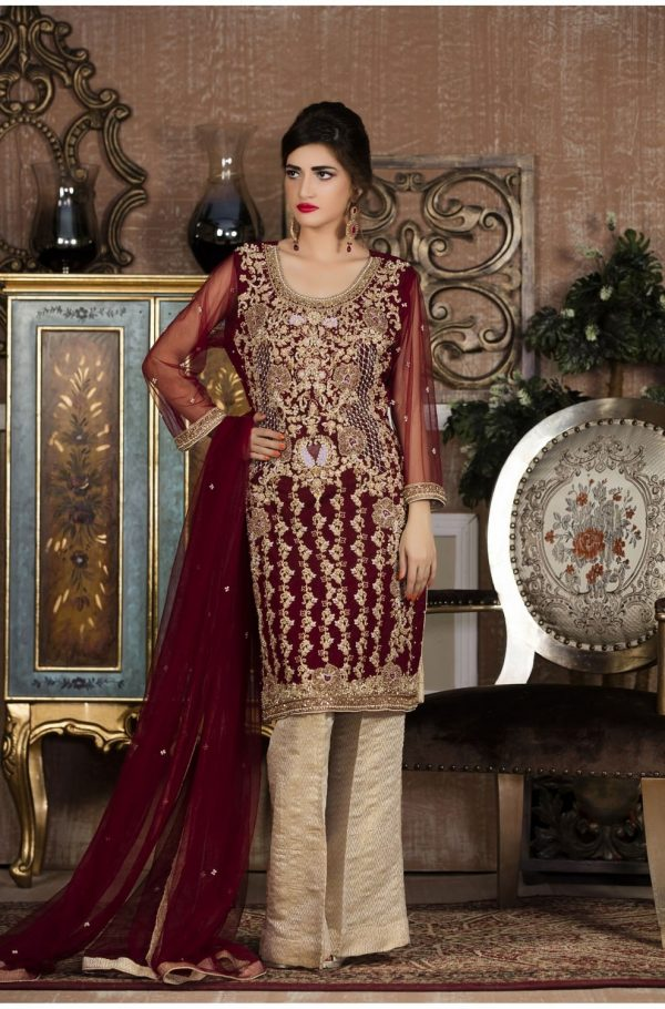 Buy Exclusive Boutique Maroon And Offwhite Bridal Wear – G13387 Online In USA, Uk & Pakistan - 02