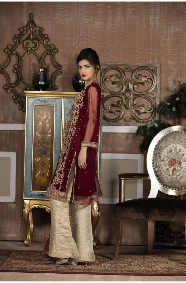 Buy Exclusive Boutique Maroon And Offwhite Bridal Wear – G13387 Online In USA, Uk & Pakistan - 01