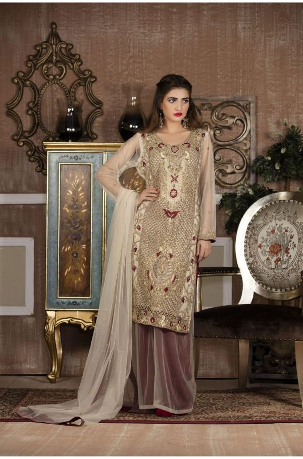 Buy Exclusive Boutique Offwhite And Maroon Bridal Wear – G13613 Online In USA, Uk & Pakistan - 02