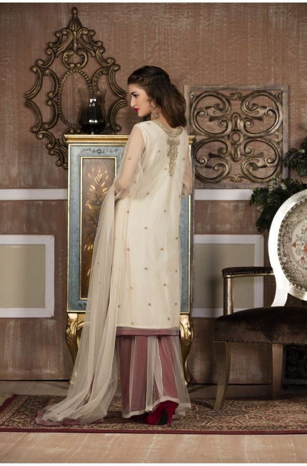 Buy Exclusive Boutique Offwhite And Maroon Bridal Wear – G13613 Online In USA, Uk & Pakistan - 01