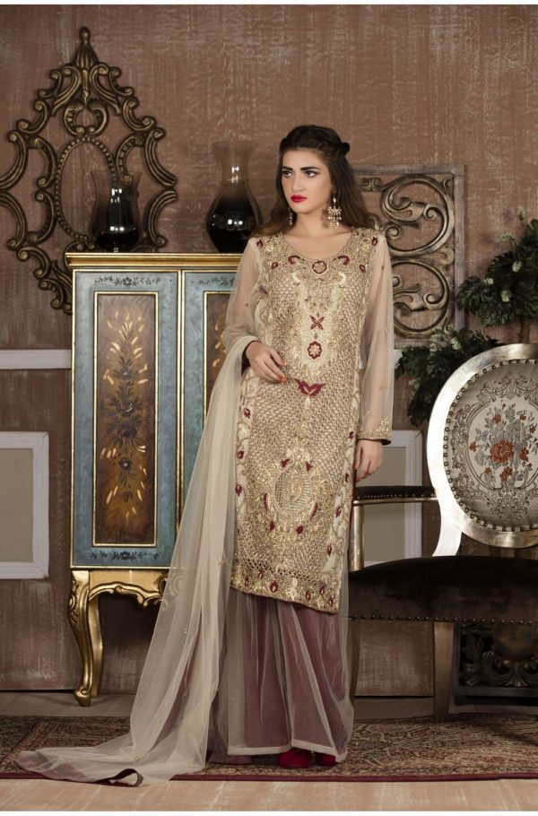 Buy Exclusive Boutique Offwhite And Maroon Bridal Wear – G13613 Online In USA, Uk & Pakistan