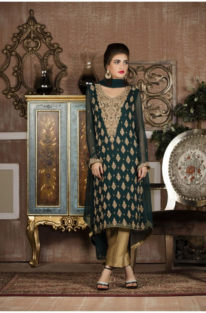 Buy Exclusive Boutique Bottle Green And Golden Bridal Wear – G13653 Online In USA, Uk & Pakistan - 02