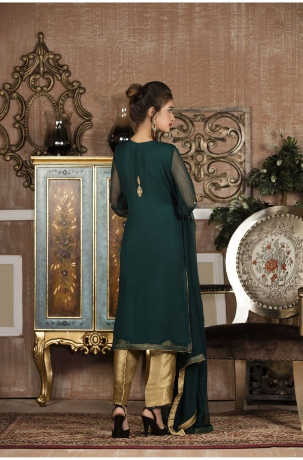 Buy Exclusive Boutique Bottle Green And Golden Bridal Wear – G13653 Online In USA, Uk & Pakistan - 01