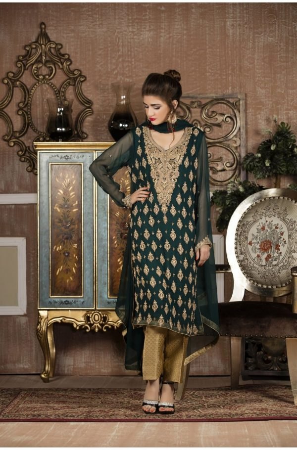 Buy Exclusive Boutique Bottle Green And Golden Bridal Wear – G13653 Online In USA, Uk & Pakistan