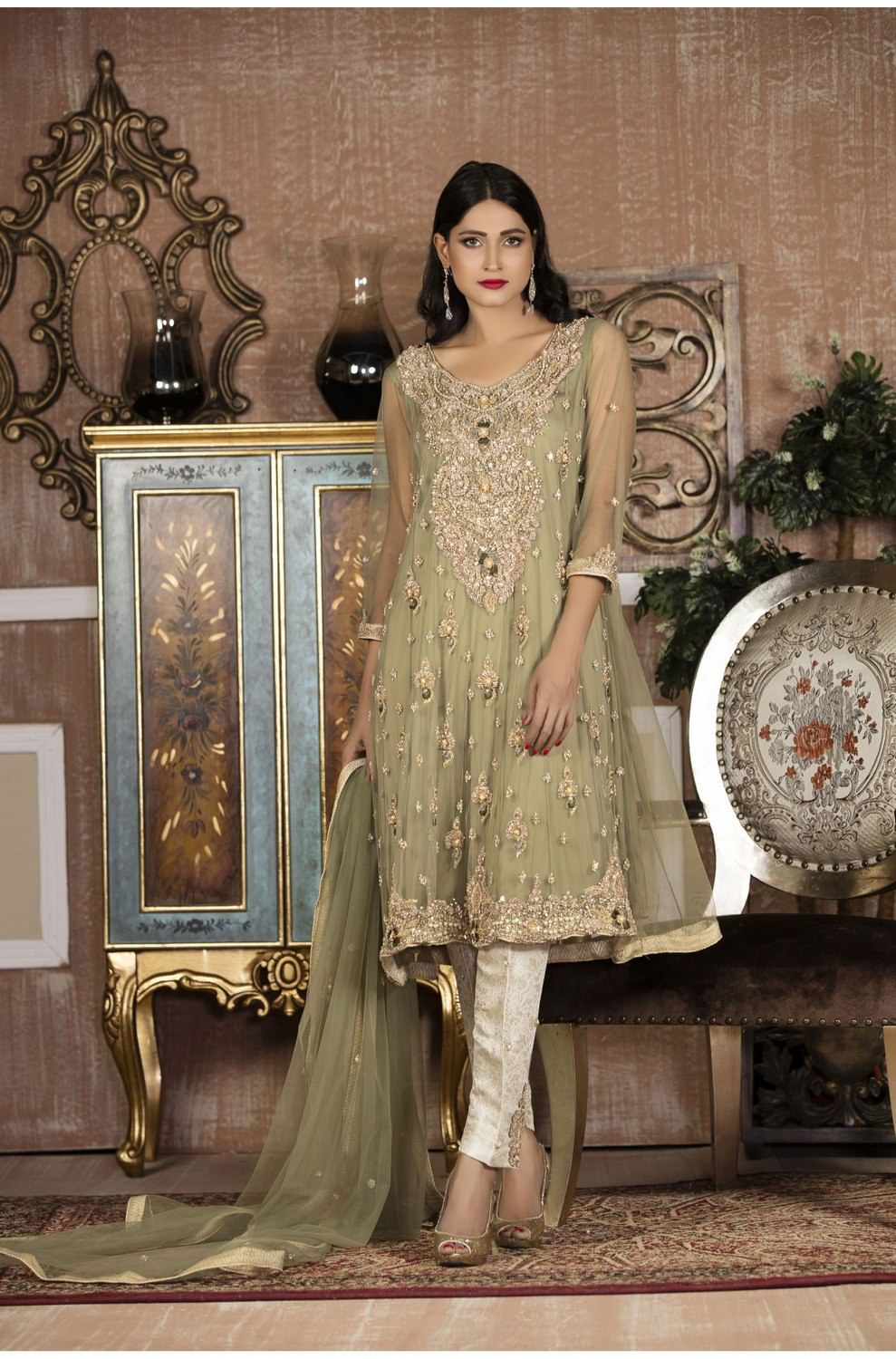 Exclusive Boutique Pista Green And Off White Bridal Wear G13879