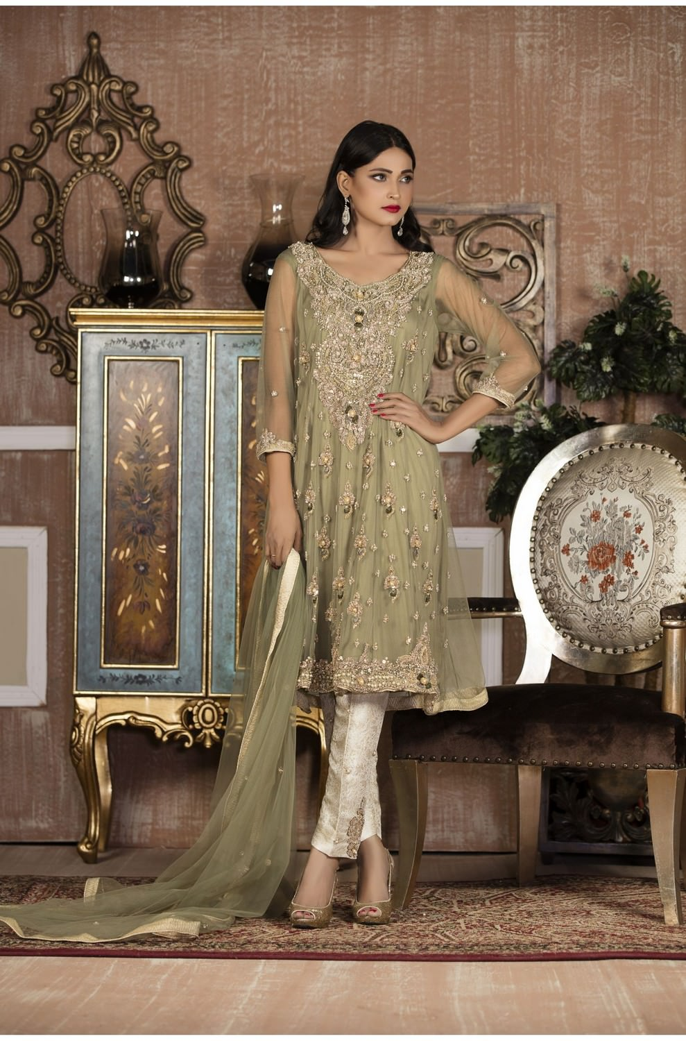 Buy Exclusive Boutique Pista Green And Off-White Bridal Wear – G13879 Online In USA, Uk & Pakistan