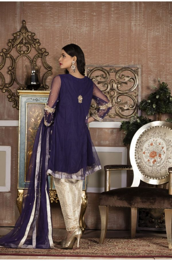 Buy Exclusive Boutique Blue And White Bridal Wear – G14103 Online In USA, Uk & Pakistan - 01
