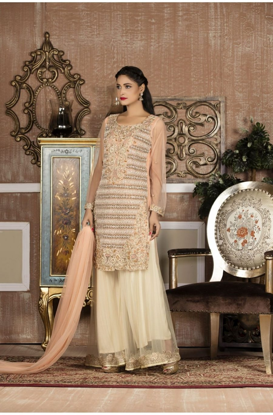 EXCLUSIVE BOUTIQUE PEACH AND OFF WHITE BRIDAL WEAR