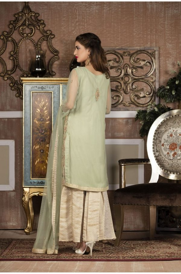 Buy Exclusive Boutique Pista Green And Off-White Bridal Wear – G14137 Online In USA, Uk & Pakistan - 01