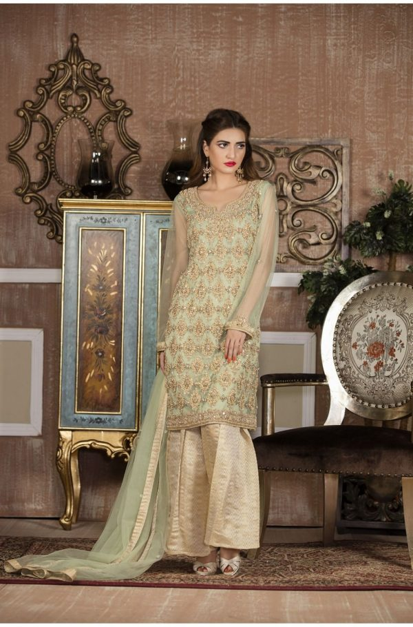 Buy Exclusive Boutique Pista Green And Off-White Bridal Wear – G14137 Online In USA, Uk & Pakistan