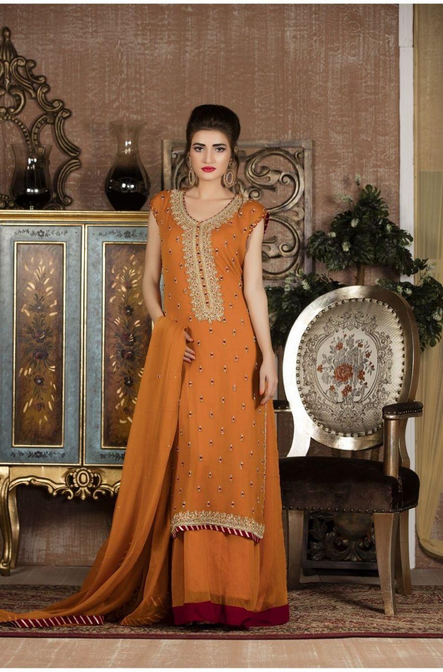 Exclusive boutique orange and maroon bridal wear sf92 pakistani bridal dresses ombrellifo Images