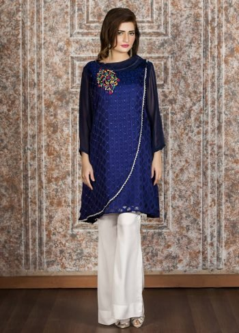 Buy Exclusive Navy Blue And White Casual Wear – 50A2770A Online In USA, Uk & Pakistan - 02