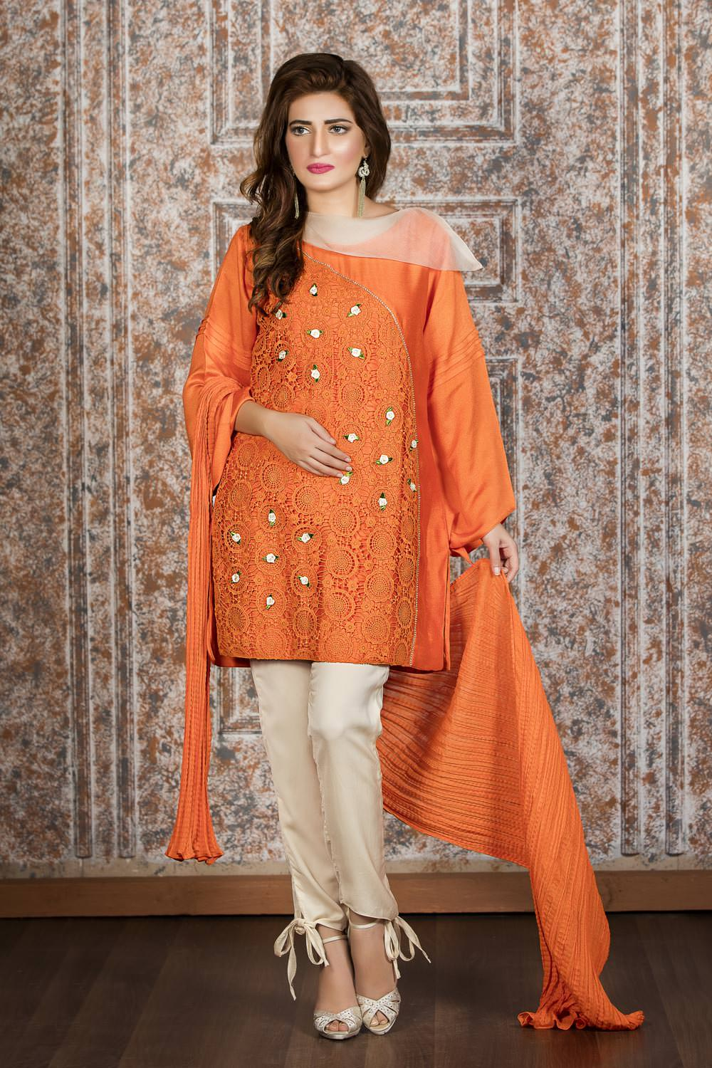 Exclusive orange and off white casual wear zzc194 Pakistani fashion designers
