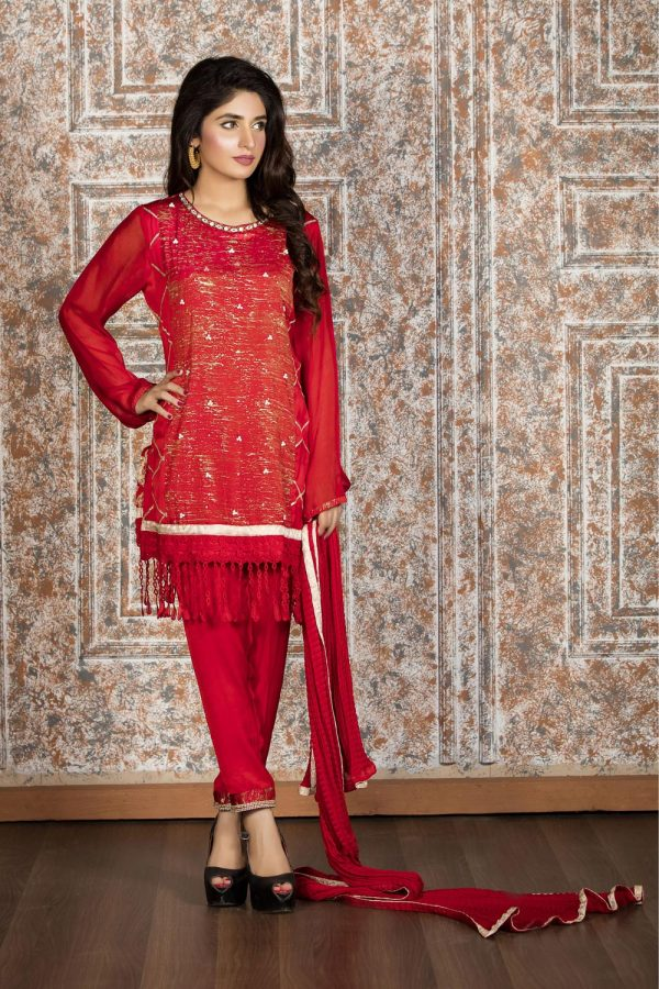 Pakistani Red Casual Dress