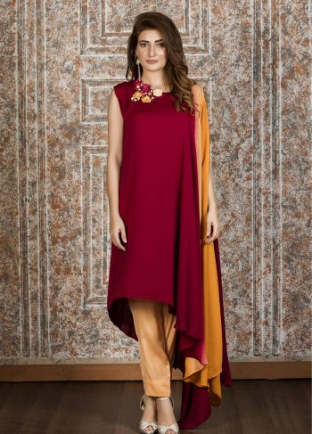 Buy Exclusive Maroon,Peach And RUSAt Casual Wear – Sac2202 Online In USA, Uk & Pakistan - 02