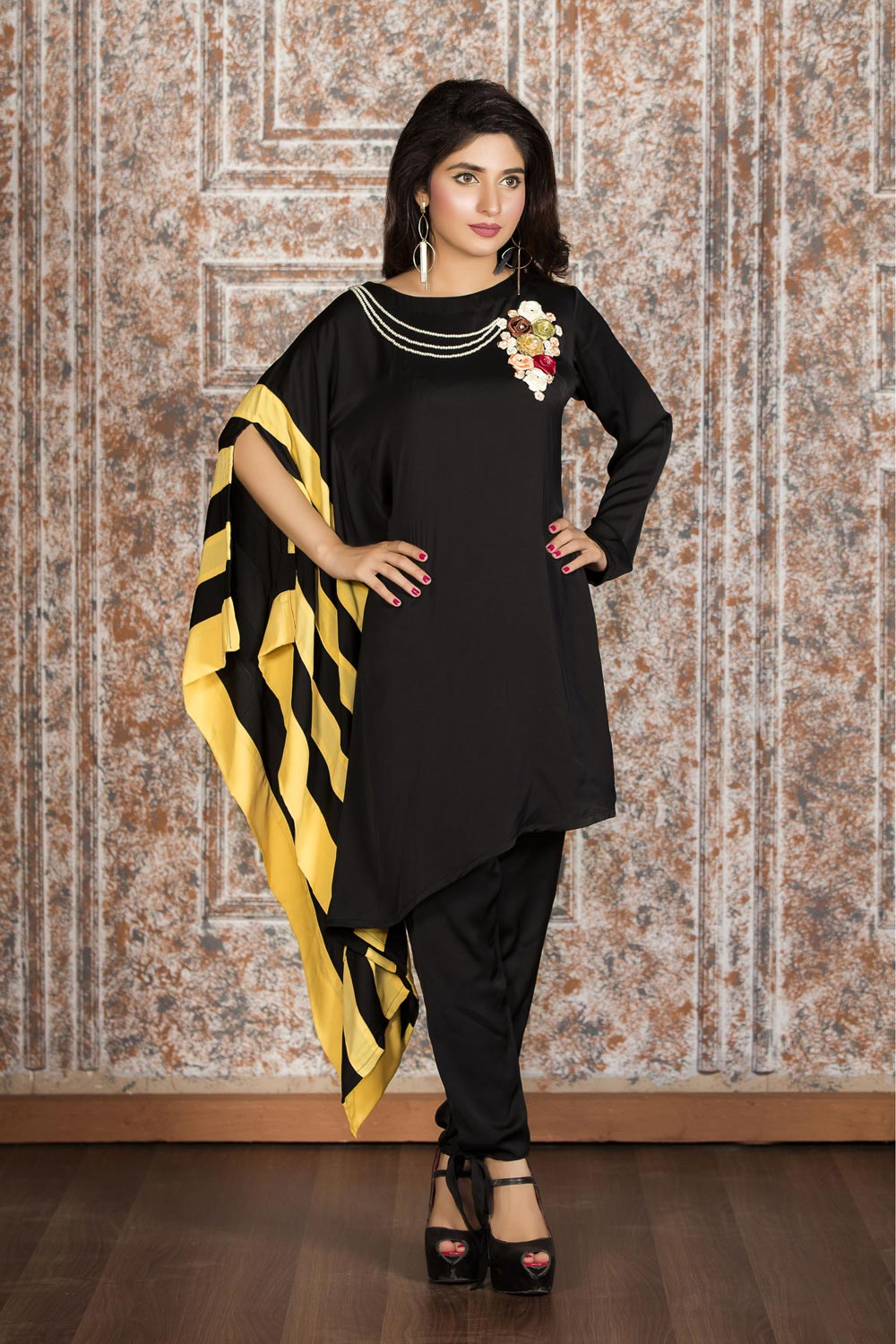 EXCLUSIVE BLACK AND YELLOW CASUAL WEAR - ZZC196 - Exclusive Online ... 85d8c5706