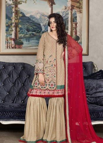Buy Exclusive Golden And Red Dress – Sabd201 Online In USA, Uk & Pakistan - 01