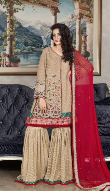 Buy Exclusive Golden And Red Dress – Sabd201 Online In USA, Uk & Pakistan - 01
