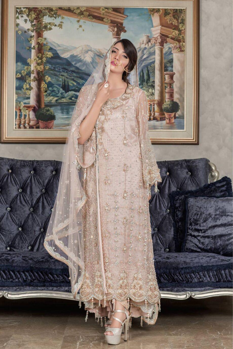 Buy Exclusive Light Peach Dress – Sabd202 Online In USA, Uk & Pakistan