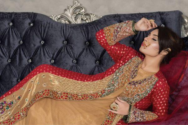 Buy Exclusive Red And Golden Dress – Sabd203 Online In USA, Uk & Pakistan - 01
