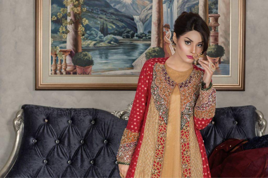 Buy Exclusive Red And Golden Dress – Sabd203 Online In USA, Uk & Pakistan - 02