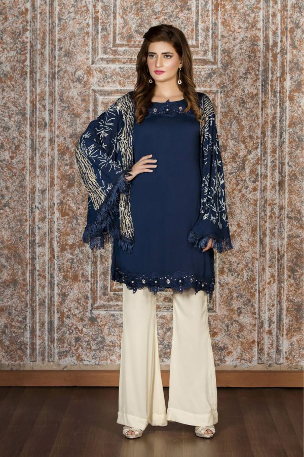 Buy Exclusive Navy Blue And Off-White Casual Wear – Sac2022 Online In USA, Uk & Pakistan - 02