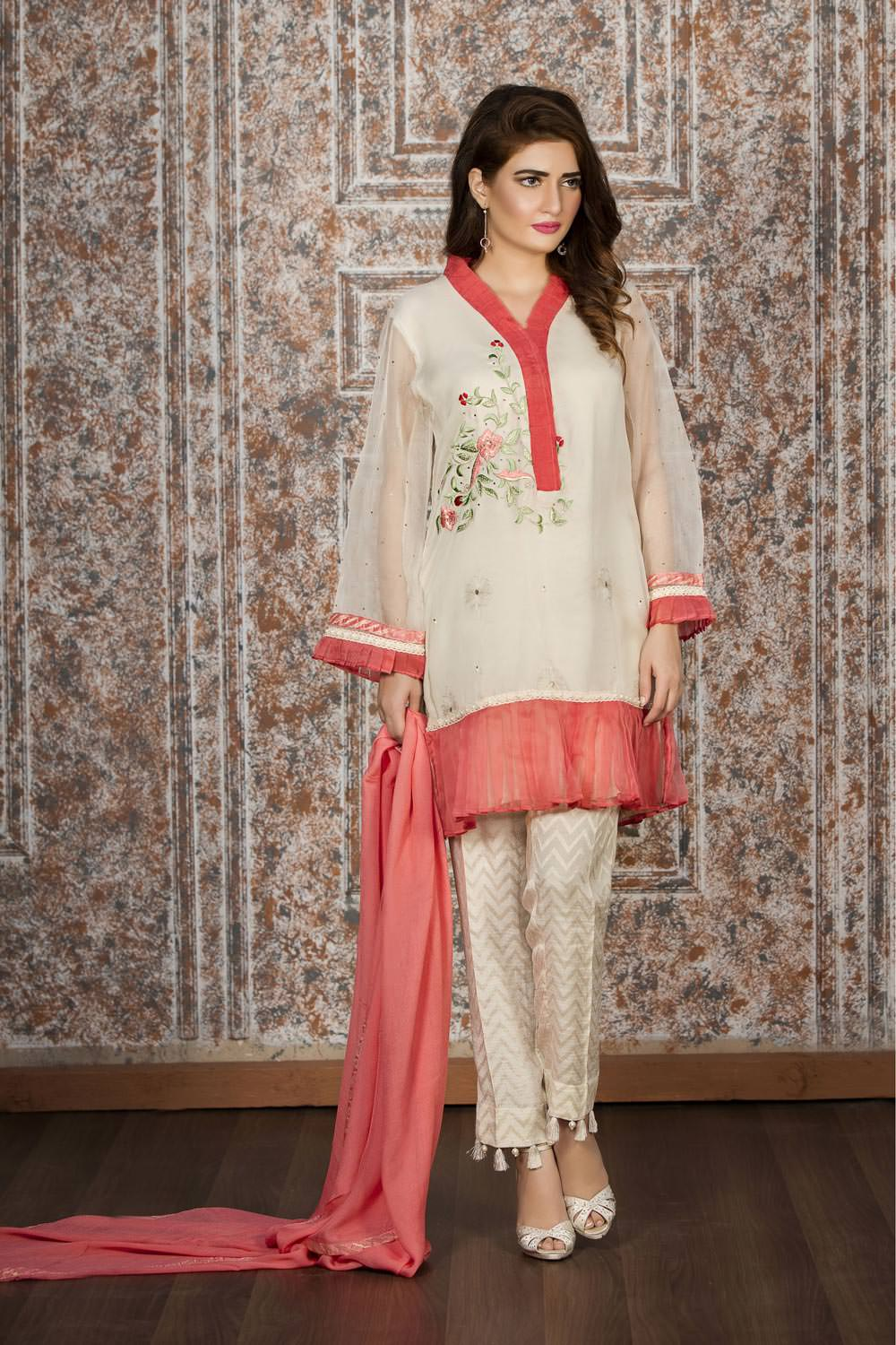 Exclusive off white and tea pink dress sac2149 Pakistani fashion designers