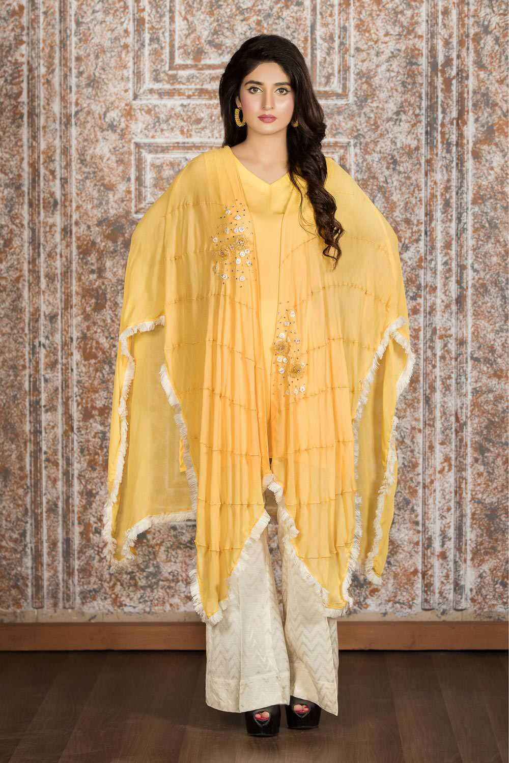 EXCLUSIVE YELLOW AND OFF WHITE CASUAL WEAR - SAC2168 - Exclusive Online Boutique