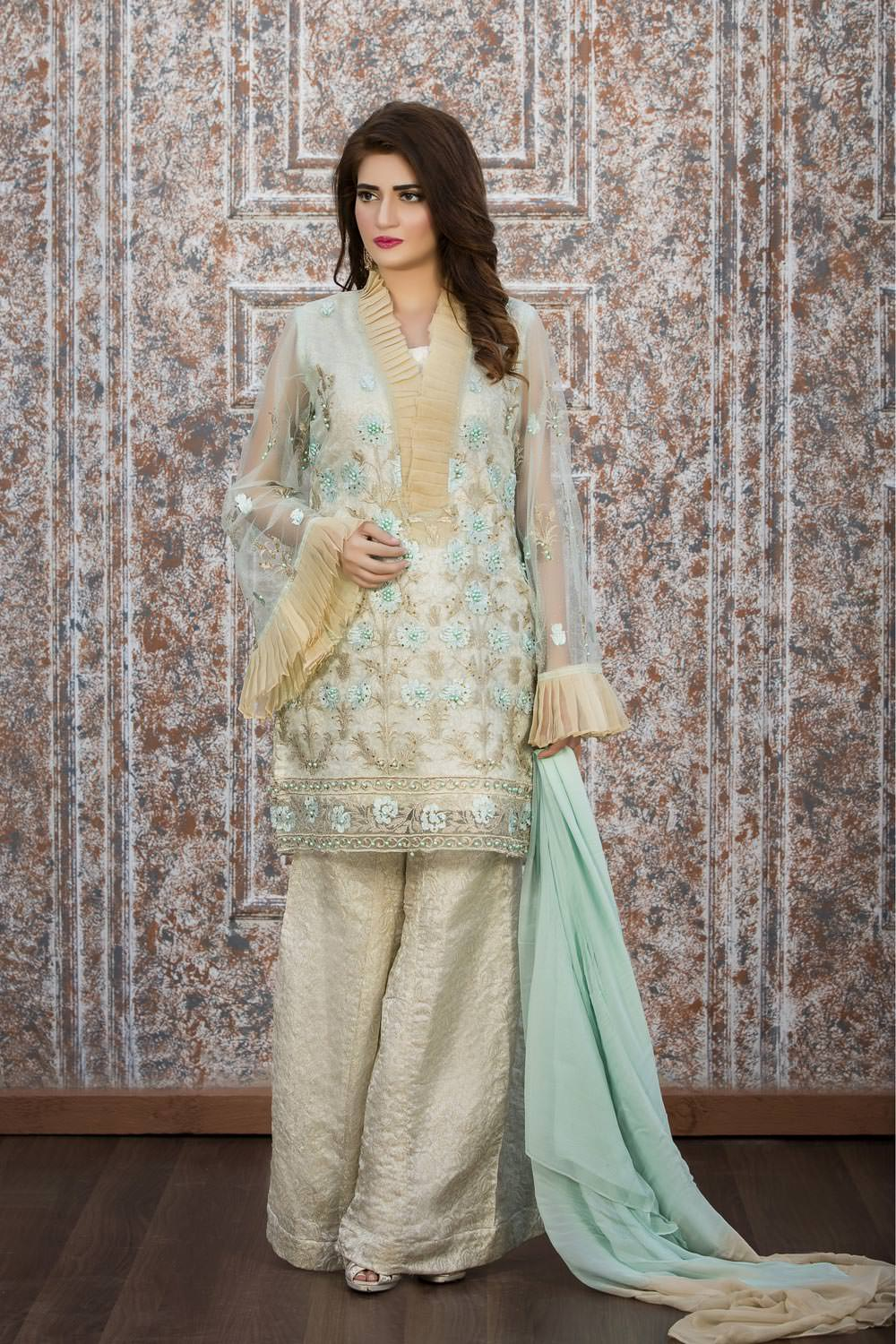 dd5eed4370 EXCLUSIVE AQUA GREEN AND OFF-WHITE PARTY WEAR - ZZS33 - Exclusive ...