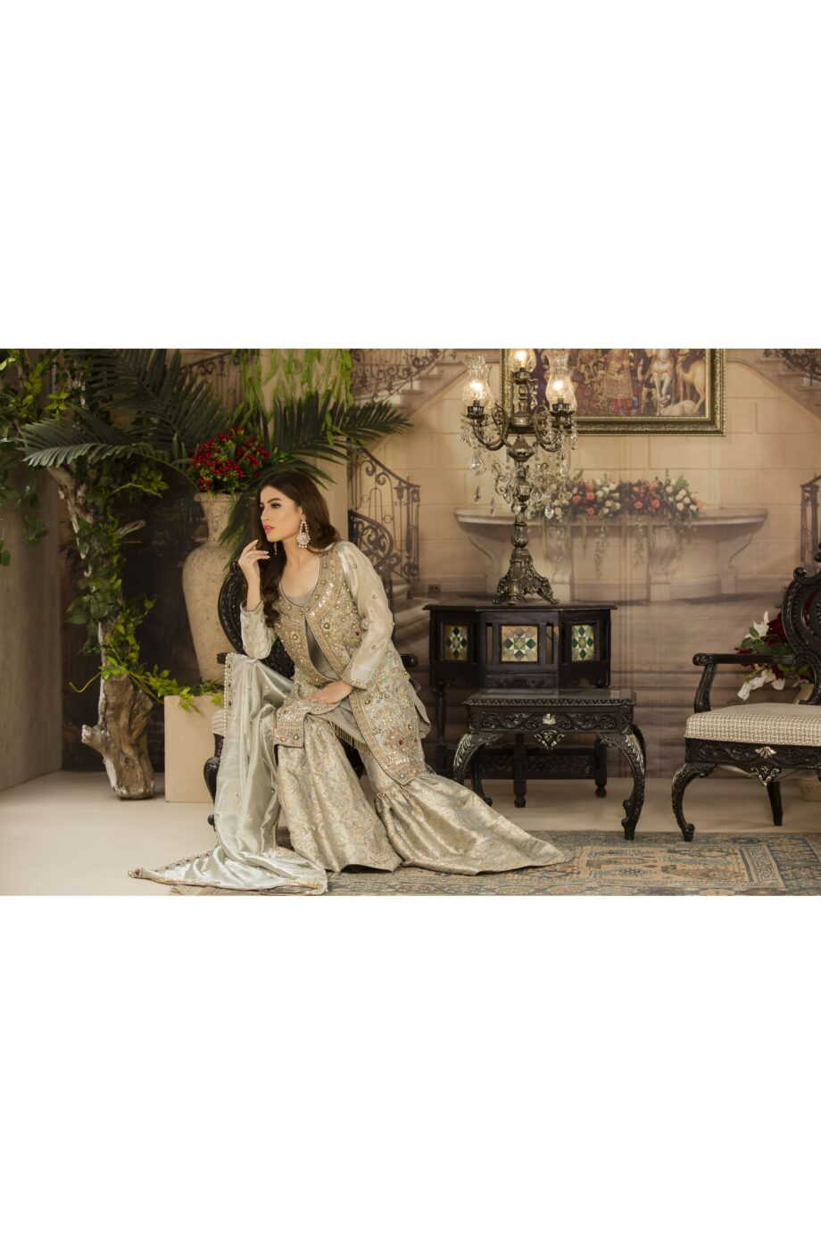 Buy Exclusive Silver And Grey Dress – G14734 Online In USA, Uk & Pakistan