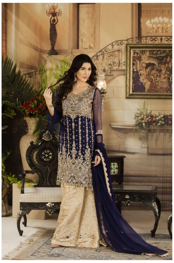 Buy Exclusive Navy Blue And Beige Dress – G15477 Online In USA, Uk & Pakistan - 04