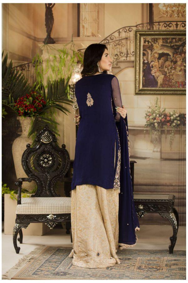 Buy Exclusive Navy Blue And Beige Dress – G15477 Online In USA, Uk & Pakistan